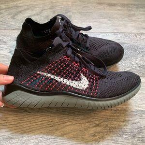 Nike Fly Knit Sneakers Black Purple Size 7 NWOT